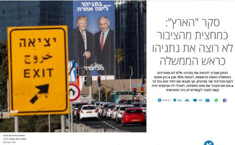 """צילום של תומר אפלבאום, """"כמחצית מהציבור לא רוצה את נתניהו כראש הממשלה"""". """"הארץ"""", 5.2.2019"""