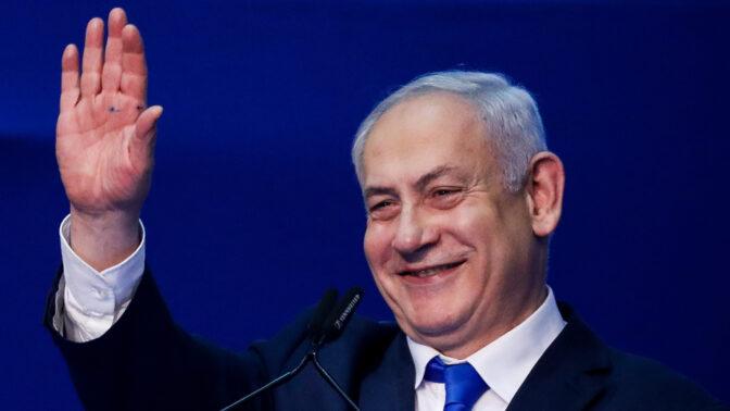 ראש הממשלה, בנימין נתניהו, בליל הבחירות, בכנס שבו הכריז על נצחונו (צילום: אוליבייה פיטוסי)