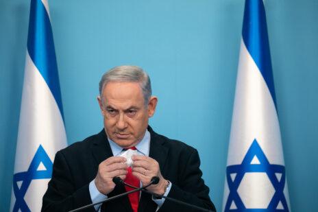 ראש הממשלה, בנימין נתניהו, מוסר הצהרה לתקשורת. ירושלים, 12.3.2020 (צילום: אוליבייה פיטוסי)