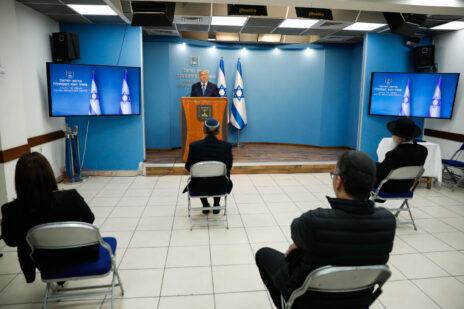 ראש ממשלת ישראל, בנימין נתניהו, נושא דברים בנושא מגפת הקורונה. ירושלים, 25.3.2020 (צילום: אוליבייה פיטוסי)