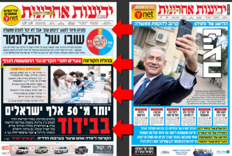 """שער """"ידיעות אחרונות"""" בבוקר שלאחר הבחירות (מימין): """"ניצח""""; יומיים אחרי: """"נתניהו מיהר לחגוג ניצחון ענק"""""""
