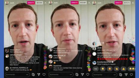"""מארק צוקרברג, מנכ""""ל ומייסד פייסבוק, במונולוג וידיאו ששודר באינסטגרם בשנה שעברה על רקע מגפת הקורונה (צילומי מסך)"""
