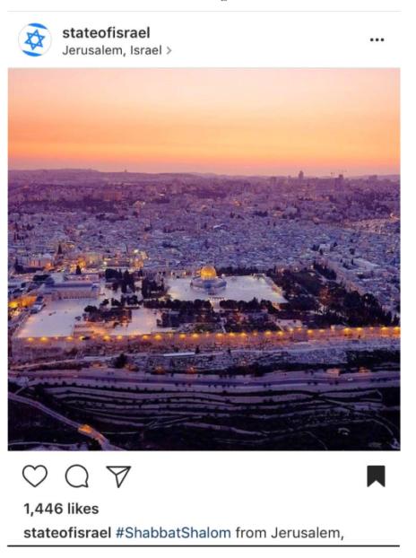 תצלום של ישראל ברדוגו בחשבון אינסטגרם של משרד החוץ, שפורסם בלי רשות ובלי מתן קרדיט (מתוך נספחי התביעה)