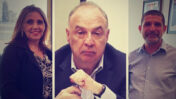 """במרכז: לן בלווטניק, בעל השליטה בערוץ רשת 13 וחברת חדשות 13; מימין: ניר שוויקי, מ""""מ מנכ""""ל הרשות השנייה; משמאל: יו""""ר הרשות השנייה יוליה שמאלוב-ברקוביץ' (צילומים: צילום מסך ומשרד התקשורת)"""