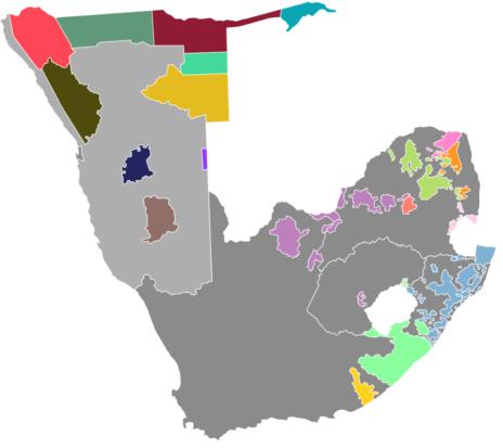 שטחי הבנטוסטנטים בדרום אפריקה ודרום-מערב אפריקה (DrRandomFactor / CC BY-SA (https://creativecommons.org/licenses/by-sa/4.0))