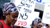הפגנה נגד אלימות משטרתית בעקבות הירי בסלמון טקה, יוצא אתיופיה, תל-אביב, 8.7.19 (צילום: גיל יערי)