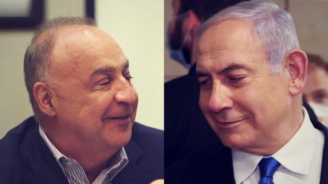ראש הממשלה בנימין נתניהו (מימין), והאוליגרך לן בלווטניק, בעל השליטה בערוץ 13 (צילומים: צילום מסך ופלאש90)