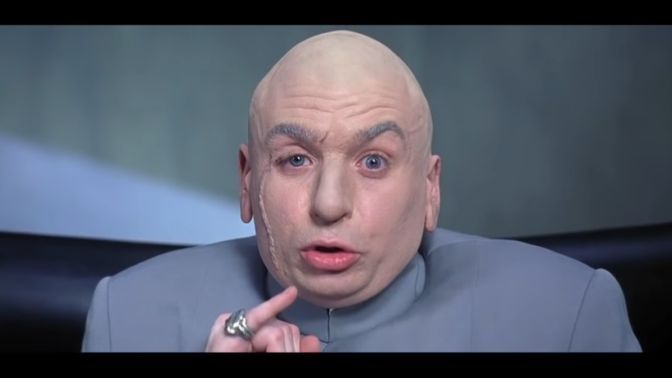 "מייק מאיירס בתפקיד ד""ר רשע בסרט ""אוסטין פאוארס"" (צילום מסך)"