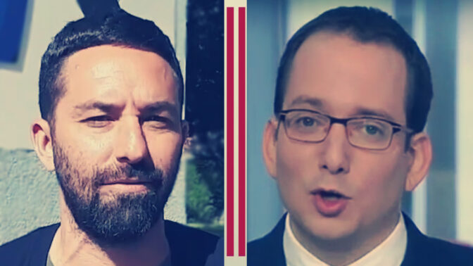 כתבי חדשות 12 לירון זייד (משמאל) ויונתן ריגר, שיאני הקידומים המסחריים של חברת קשת במהדורה המרכזית של החדשות (צילומי מסך)