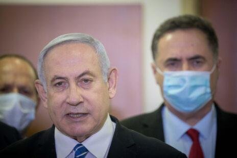 ראש ממשלת ישראל, בנימין נתניהו, נושא דברים זמן קצר לפני התייצבותו לפתיחת משפטו. ירושלים, 24.5.2020 (צילום: יונתן זינדל)