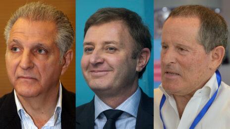 מימין לשמאל: אנשי העסקים מאיר שמיר, זיו אבירם וליאון רקנאטי, שרכשו מניות בחברה של גולדן (צילומים: פלאש 90, יונתן זינדל ויוסי זמיר)