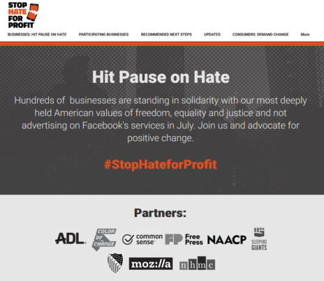 אתר יוזמת הארגונים נגד שיח שנאה בפייסבוק
