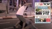 """תקיפת מפגין בהפגנה נגד השר אוחנה, 28.7.20 (צילום מסך), ושער """"ישראל היום"""" ובו דיווח על ההתקפה"""
