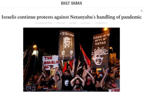 """טורקיה: """"הישראלים ממשיכים למחות על האופן בו מטפל נתניהו במגיפה"""", """"דיילי סבאח"""""""