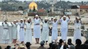 יהודים מבצעים את טקס קורבן הפסח בירושלים, אפריל 2019 (צילום: נעם ריבקין-פנטון)