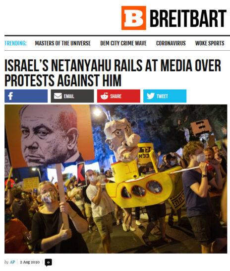 """""""נתניהו יוצא נגד התקשורת בשל המחאות נגדו"""", """"ברייטברט"""""""