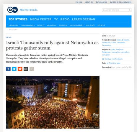 """גרמניה: סיקור ההפגנות בירושלים ב""""דויטשה ולה"""", 2.8.2020"""