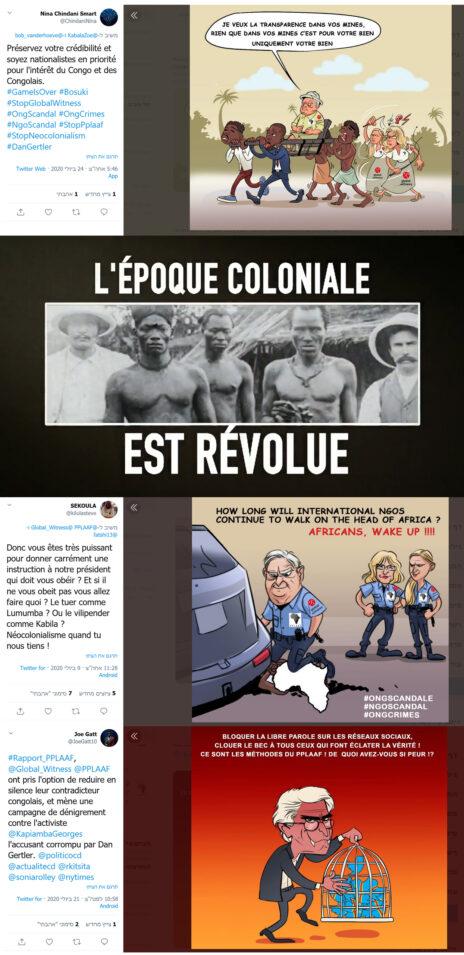 """מלמעלה למטה: קריקטורה שמציגה את ג'ורג' סורוס ואת ארגוני זכויות האדם כנצלני העם בקונגו; פריים מתוך אחד הסרטונים (הכיתוב: """"העידן הקולוניאלי חלף""""); קריקטורה שמציגה את סורוס כשוטר שמתעלל באפריקה; וקריקטורה שמציגה את עו""""ד ויליאם בורדון כדמות בעלת מאפיינים שטניים (צילומי מסך)"""