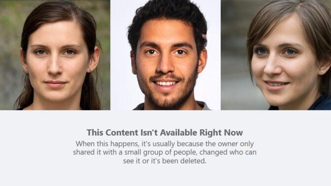 הודעת המחיקה בפייסבוק, ומעליה הדיוקנאות שצורפו לפוסטים המזויפים (צילומי מסך)