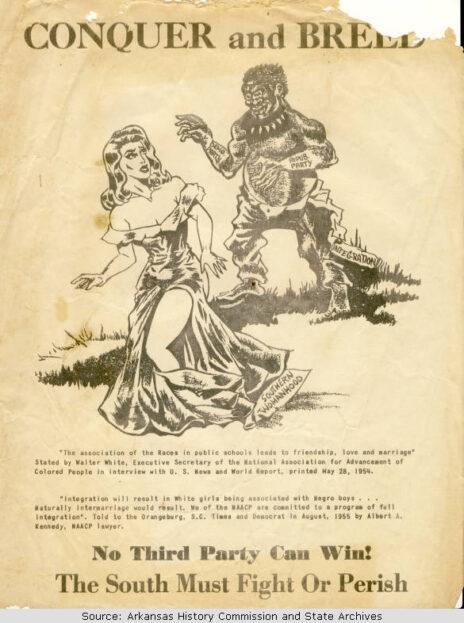 """מודעה נגד נישואי תערובת, ארה""""ב, 1958 (ספריית אוניברסיטת ארקנסו)"""
