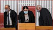 השופטים אסתר חיות, נעם סולברג (משמאל) וג'ורג' קרא נכנסים לאולם בית-המשפט העליון לדיון בעתירת זוג הנאשמים אלוביץ' נגד הדלפות לתקשורת, 14.9.2020 (צילום: אוליבייה פיטוסי)