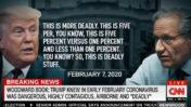 דונלד טראמפ מספר לבוב וודוורד על מידת הסכנה שבנגיף הקורונה (צילום מסך משידורי CNN)