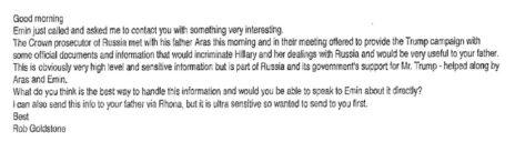 """המייל של רוב גולדסטון לדונלד טראמפ ג'וניור, מתוך דו""""ח מולר"""