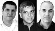 """מימין: מנכ""""ל חדשות 13 ישראל טויטו, מנכ""""ל חדשות 12 אבי וייס ומנהל חטיבת החדשות של כאן 11 ברוך שי (צילומים: אורן פרסיקו ומיכל צוקר-בכור)"""
