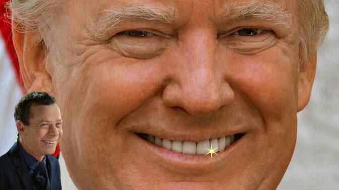 """נשיא ארה""""ב לשעבר דונלד טראמפ (בתמונה הקטנה: עמית סגל) (צילומים מקוריים: ספריית הקונגרס האמריקאי וגילי יערי)"""