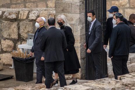 מרים אדלסון בהלווית בעלה, שלדון אדלסון, הר הזיתים, ירושלים, 15.1.21 (צילום: יונתן זינדל)