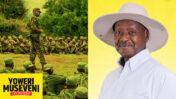 הדיקטטור האוגנדי יוורי מוסווני (בתמונה הגדולה), מתוך קמפיין הבחירות שלו. בתמונה הקטנה: בנו חמוש בעוזי, מתוך ציוץ שפורסם בחשבון הטוויטר שלו