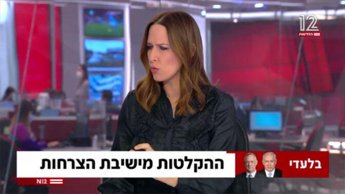 """יונית לוי מגישה: """"ההקלטות מישיבת הצרחות"""". חדשות 12, 7.2.2021 (צילום מסך)"""
