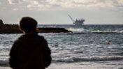 אסדת הגז לווייתן, מבט מחוף דור (צילום: פלאש 90)