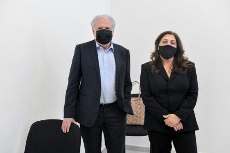 """בני הזוג איריס ושאול אלוביץ', לשעבר בעלי השליטה ב""""וואלה"""", בבית-המשפט המחוזי ירושלים, 8.2.2021 (צילום: ראובן קסטרו)"""