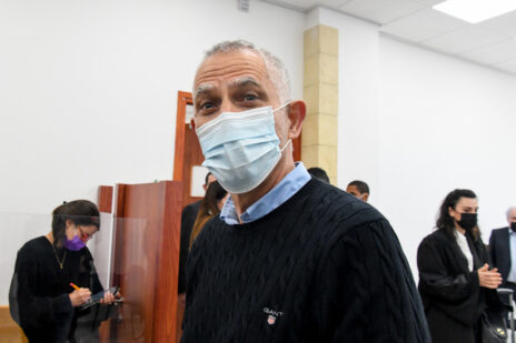 ארנון (נוני) מוזס בבית-המשפט המחוזי בירושלים, 8.2.2021 (צילום: ראובן קסטרו)