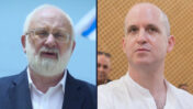 """מנכ""""ל תאגיד השידור הציבורי אלדד קובלנץ (צילום: יונתן זינדל), ומיכאל לייטמן, המנהיג הרוחני של תנועת """"קבלה לעם"""" (צילום מסך מתוך שידורי ynet)"""