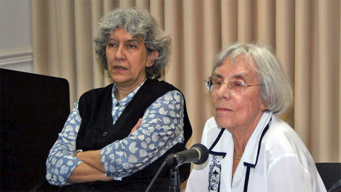 נשיאת מועצת העיתונות דליה דורנר וממלאת מקום הנשיאה ארנה לין (צילום: אורן פרסיקו)