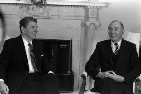 """הנשיא חיים הרצוג, עם נשיא ארה""""ב רונלד רייגן, 11.10.1987 (צילום: יעקב סער, לע""""מ)"""
