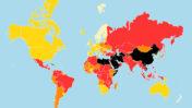 מפת מדד חופש העיתונות של עיתונאים ללא גבולות