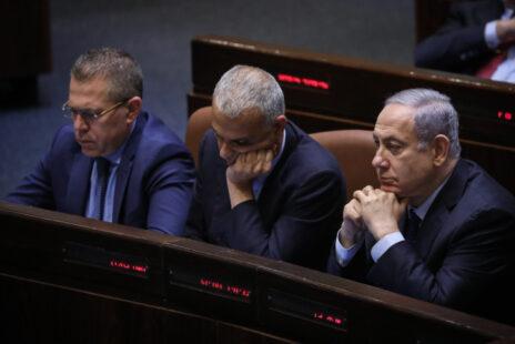 ראש הממשלה בנימין נתניהו והשרים משה כחלון וגלעד ארדן, 20.5.2019 (צילום: נועם רבקין-פנטון)