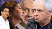 """הזוג שאול ואיריס אלוביץ', בעלי השליטה ב""""וואלה"""", וראש הממשלה בנימין נתניהו (מאחור): נאשמים בעסקת שוחד ב""""תיק 4000"""". מלפנים: מנכ""""ל """"וואלה"""" אילן ישועה (צילומים: פלאש90)"""
