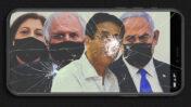 מימין: בנימין נתניהו, אילן ישועה, שאול ואיריס אלוביץ' (צילומים מקוריים: ראובן קסטרו, אורן בן-חקון, פלאש90)