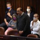 """ח""""כ סמי אבו-שחאדה מהרשימה-המשותפת בטקס ההשבעה של הכנסת ה-24, 6.4.21 (צילום: אלכס קולומויסקי)"""