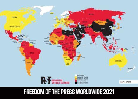 (מקור: מדד חופש העיתונות של ארגון עיתונאים ללא גבולות, 2021)