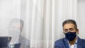"""אילן ישועה, מנכ""""ל """"וואלה"""" לשעבר, לפני עוד יום של חקירה נגדית ע""""י עו""""ד ז'ק חן, בא-כוחו של שאול אלוביץ', לשעבר בעל השליטה בבזק וב""""וואלה""""; ביהמ""""ש המחוזי בירושלים, 10.5.21 (צילום: יונתן זינדל)"""