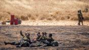 חיילים ישראלים סמוך לגבול עם רצועת עזה, 14.5.2021 (צילום: יונתן זינדל)