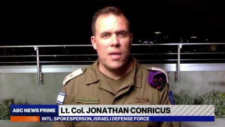"""סא""""ל יונתן קונריקוס, דובר צה""""ל לתקשורת הבינלאומית (צילום מסך מתוך שידורי רשת ABC)"""