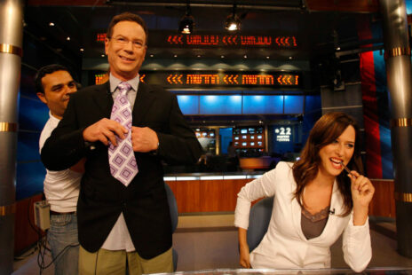 יונית לוי וגדי סוקניק, מנחי חדשות בערוץ 2 (היום ערוץ 12), 2007 (צילום: מיכאל פתאל)