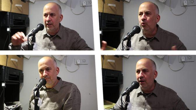 """גיא רולניק באולפן פודקאסט משפט המו""""לים (צילום מקורי: אורן פרסיקו)"""