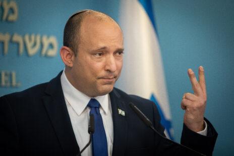 ראש ממשלת ישראל, נפתלי בנט, במסיבת עיתונאים במשרד ראש הממשלה. ירושלים, 14.7.2021 (צילום: נעם ריבקין-פנטון)